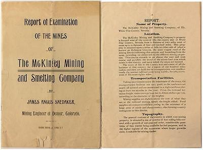 Report of the Mines of the McKinley Mining and Smelting Co. ~ Denver, Colo  1903