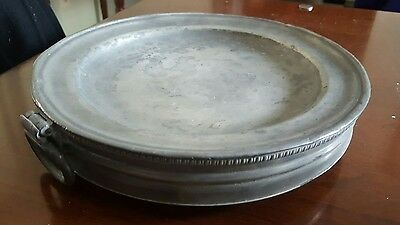 Antique 19th Century Pewter Warming Plate Dish Hot Water