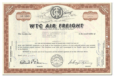 WTC Air Freight Stock Certificate