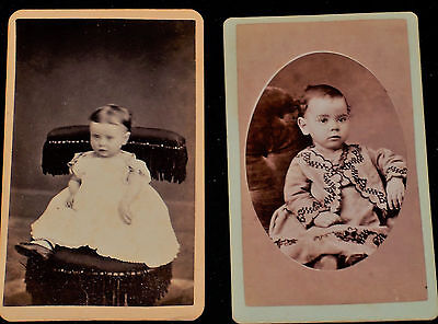 Vintage Pair of 1800's CDVs of Seated  Babies/Lebanon, Ohio