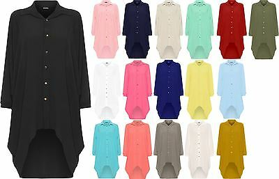 Womens Batwing Sleeve Dip Hem High Low Button Collar Shirt Dress Plus Size