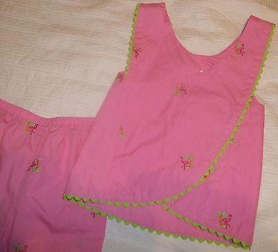 Goodlad Girls Pink Green Flamingo Top & Pants Easter Spring Summer Outfit Sz 4T
