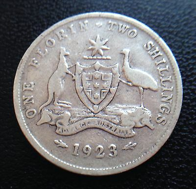 King George V Australia 1923 One Florin Two Shillings Coin .925 Silver
