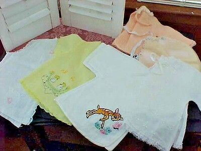 LOVELY VINTAGE 1950s INFANT BABY BED JACKETS-Lot of  Six~CUTE~REPURPOSE~