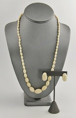 VINTAGE ESTATE Jewelry 14kt GOLD & HAND CARVED NECKLACE & PIERCED EARRINGS SET
