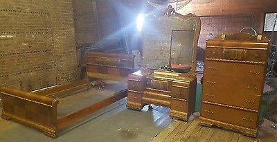 Antique FEDERAL Style 3 Piece Bedroom Vanity Set w BIG Mirror Double Size Frame