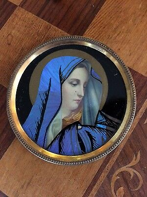 Antique Butterfly Wing Art Virgin Mary Blue Cloak,  Small Round Ormolu Frame