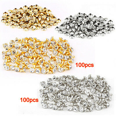 100pcs silver + 100 pcs golden Rivet with rhinestone diamond 7mm L8Q6