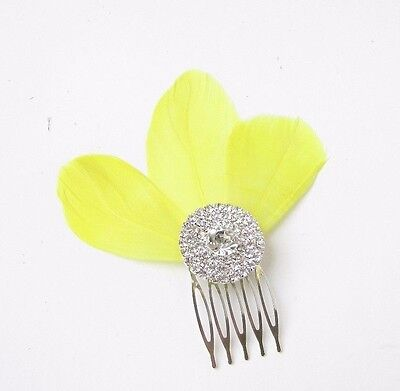 Yellow Feather Fascinator Hair Comb Bridesmaid Silver Diamante 1920s Clip 2357