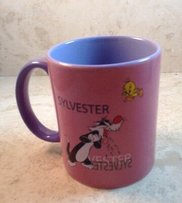 Sylvester Tweety Bird Ceramic Mug Pink Purple Warner Brothers Perfect