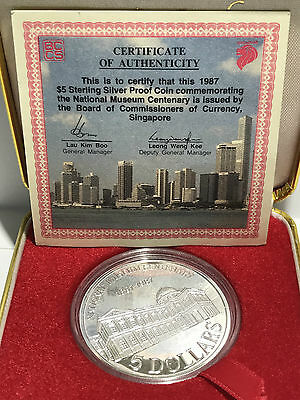 1987 $5 Silver Proof Coin National Museum Singapore