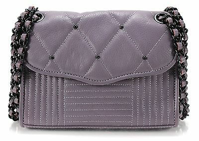 REBECCA MINKOFF Purple Quilted Leather Studded Mini Affair Chain Bag