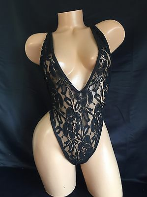 Exotic Dancer Stripper Black Lace Strappy Thong Romper Dancewear