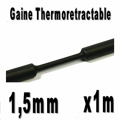 Gaine Thermo Rétractable 2:1 - Diam. 1,5 mm - Noir - 1m