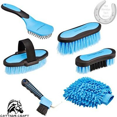 Cottage Craft Dandy, Body, Face, Mane & Tail Brushes + Hoof Pick & Marvel Mitt