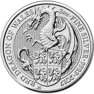 2017 2 oz British Silver Queen's Beast - Red Dragon of Wales 3rd in the series