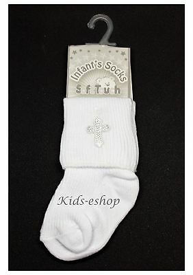 Baby White Christening Baptism socks Cotton Rich NB-18 M Soft Touch