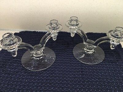 VINTAGE ART DECO 1900's PAIR of Clear Glass Double Candle sticks