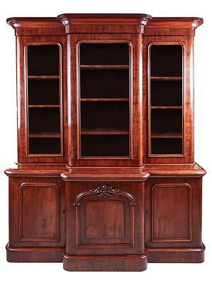 Large 19Th Century Breakfront Mahogany Bookcase