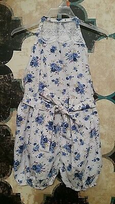 Just Couture Girls Sleeveless White Floral Halter Romper Size 5 Nwot