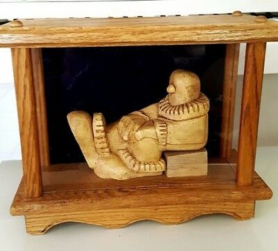 Wooden Statue Of Clown Enclosed In A Glass And Wooden Box Big Feet And Ruffles