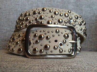 Studded Beige Leather Belt Rhinestone / Rhinestones Women's Size XL