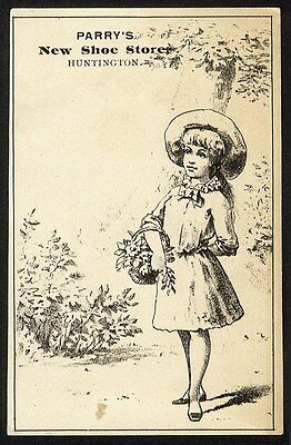 HUNTINGTON INDIANA Shoe Store Trade Card 1880's H K PARRY Little Girl