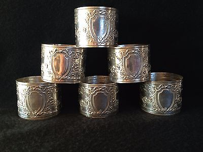 "Vintage Silver Plated Engraved With "" Shield & Flower "" Design Napkin Ring (6)"