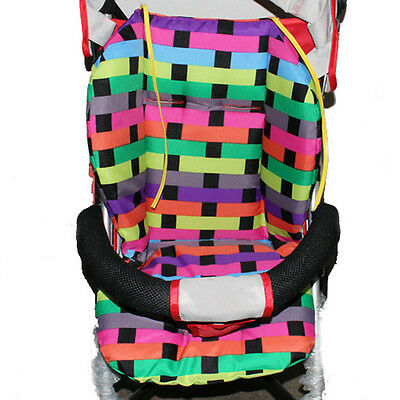 Baby Multi-color Cotton Grid Stroller Cushion Child Cart Seat Cushion Thick Mat