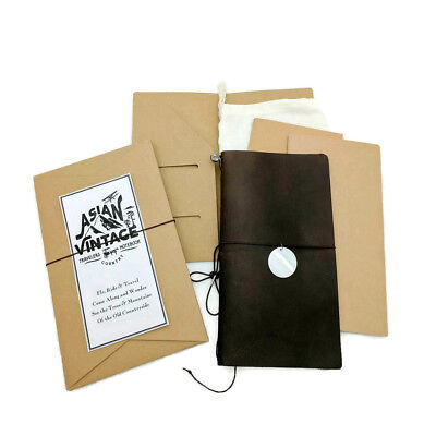 Brown Leather Journal Refillable Diary Midori Style Travelers Notebook Vintage