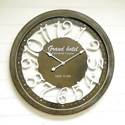 Large French Provincial Taupe Wall Clock Grand Hotel New York Metal ~ Wood ~78cm