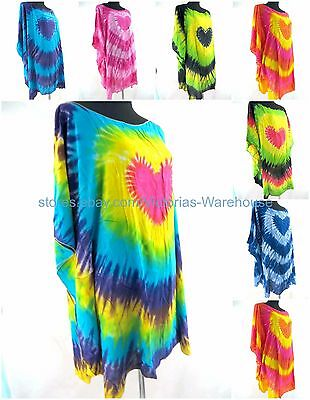 US SELLER- 10pcs wholesale tie dye heart plus size kaftan top dress Boho Style