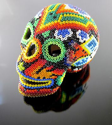 HUICHOL BEADED SKULL Day of the Dead Art Signed Mexican Folk Art Niuweme