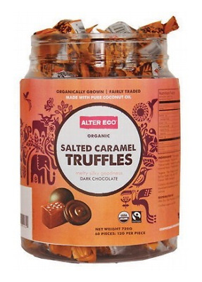 Alter Eco Organic Salted Caramel Truffles - Dark Chocolate Tub 60x12g