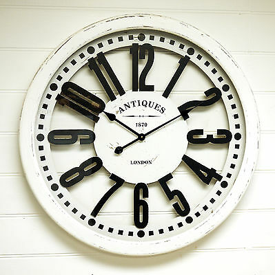 Large French Provincial White Wall Clock Antiques 1870 London Metal &Timber 78cm