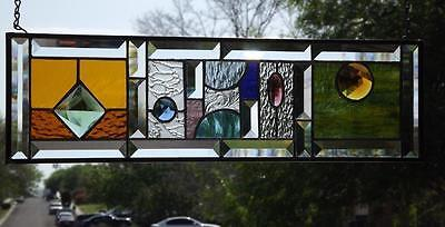 "•JEWEL HEIST• Beveled Stained Glass Window Panel • 22 ¼""X6 ¼"" ( 37"