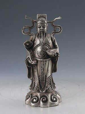 Chinese Cupronickel Hand-carved God Of Wealth Statue