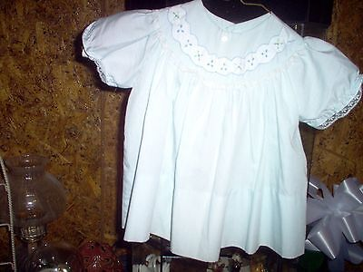 Vintage Cherubs Blue Embroidered Baby SS Dress size 12M