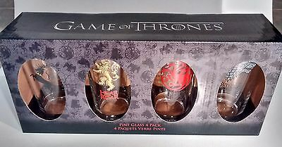 PINT GLASS 4 Pack Official HBO Game of Thrones Drinking Glasses SET NEW
