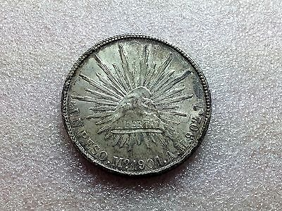 1901 Mo AM Mexico Cap & Rays UN Peso Nice Toning Great Condition