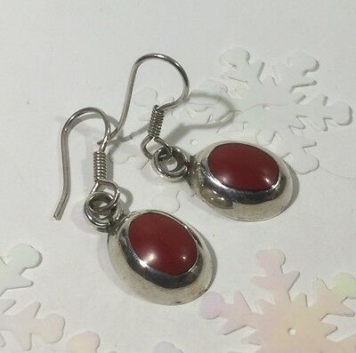 TAXCO TC-69 Inlaid Oval SEA CORAL 925 Sterling Silver Drop Earrings 8.2g