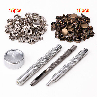 30pcs 10mm metal push button + tool set for leather goods leather D8Y9