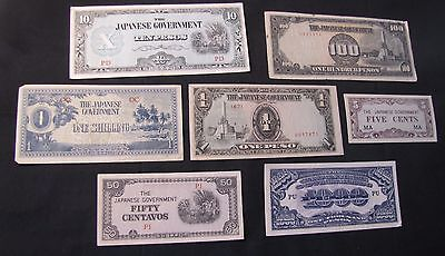 Lot of 7 Japanese Government Notes - 1000 Pesos, 100 Pesos, 1 Peso, 1 Shilling