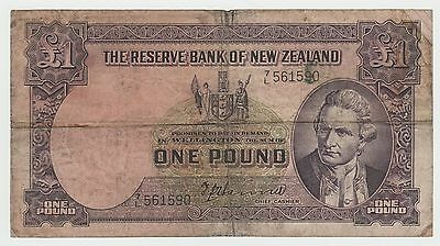 New Zealand 1 Pound banknote, issued between 1940-1955, circulated