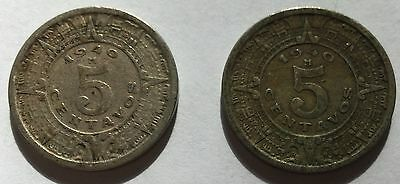 (2) 1940 Mexico 5 Centavos! Coins In High And Very High Grades!!!!
