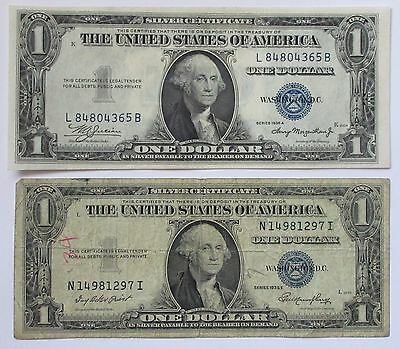 Two 1935-A and 1935-E $1 Silver Certificate Notes