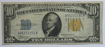 1934-A $10 Silver Certificate Blue Seal – North Africa AA Block