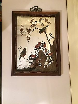 Chinese Reverse Painted Mirror With Birds.