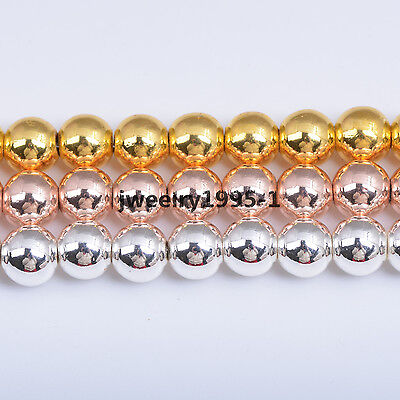 8MM Silver Gold Rose Gold Round Magnetic Hematite Gemstone Loose Spacer Beads