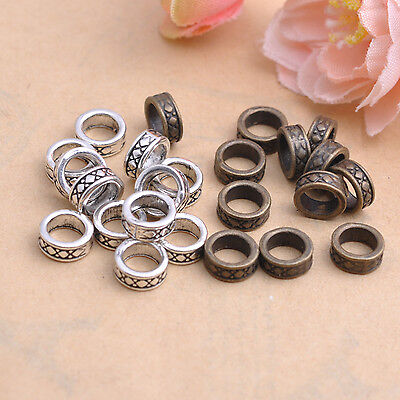 50Pcs Tibetan Silver Tube Charms Spacer Beads Jewelry Findings 7.5MM #81